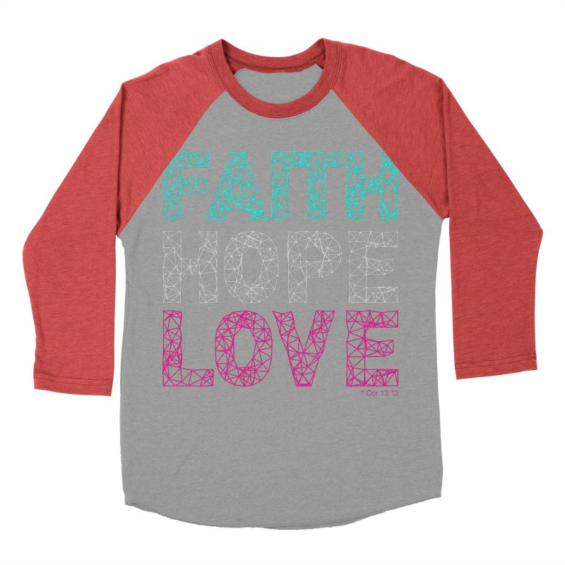 Faith Hope Love Women's Baseball Triblend Longsleeve T-Shirt by Stand Forgiven ✝ Bible-inspired designer brand