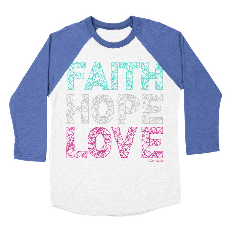 Faith Hope Love Men's Baseball Triblend Longsleeve T-Shirt by Stand Forgiven ✝ Bible-inspired designer brand