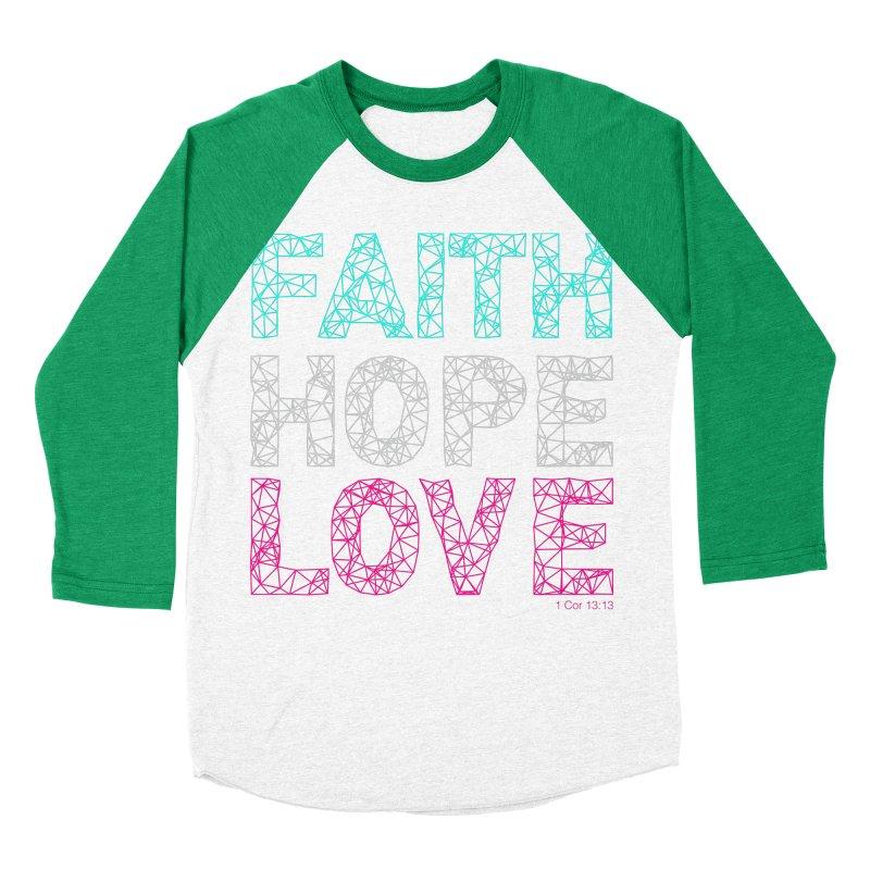 Faith Hope Love Men's Baseball Triblend Longsleeve T-Shirt by Stand Forgiven ✝ Bible-inspired designer brand