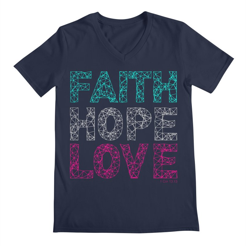 Faith Hope Love Men's V-Neck by Stand Forgiven ✝ Bible-inspired designer brand
