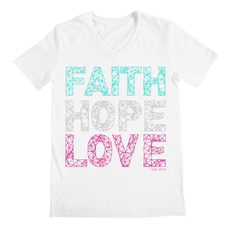 Faith Hope Love Men's Regular V-Neck by Stand Forgiven ✝ Bible-inspired designer brand
