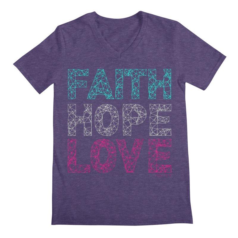 Faith Hope Love Men's Regular V-Neck by Stand Forgiven ✝ Bible-inspired designer brand