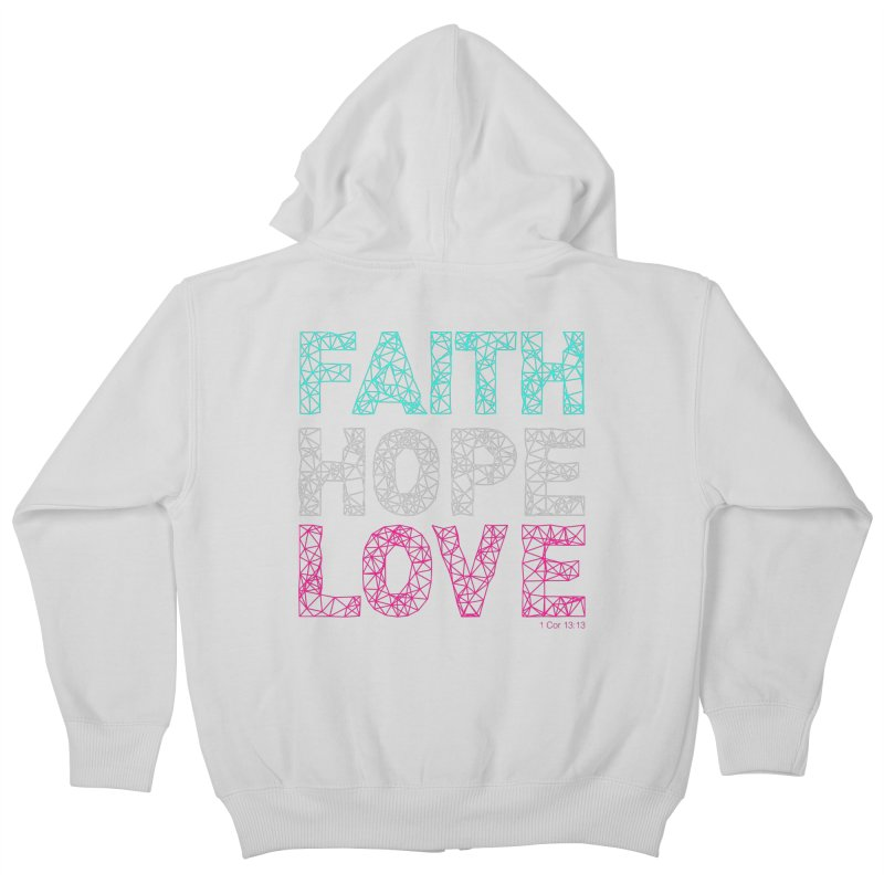 Faith Hope Love Kids Zip-Up Hoody by Stand Forgiven ✝ Bible-inspired designer brand