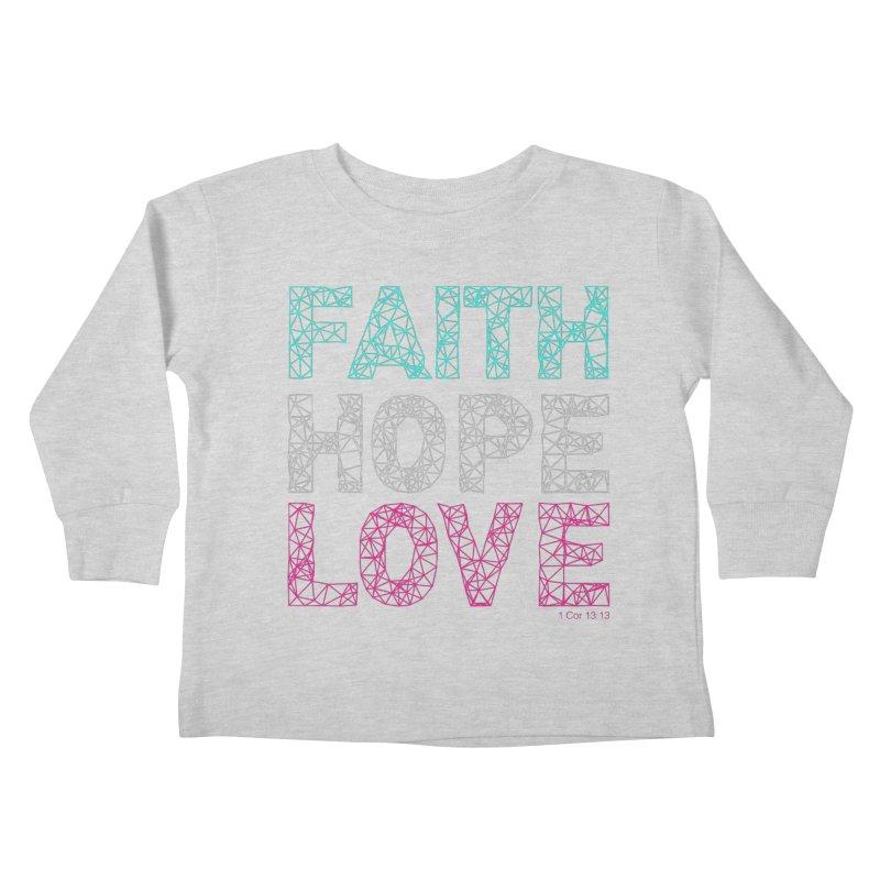 Faith Hope Love Kids Toddler Longsleeve T-Shirt by Stand Forgiven ✝ Bible-inspired designer brand