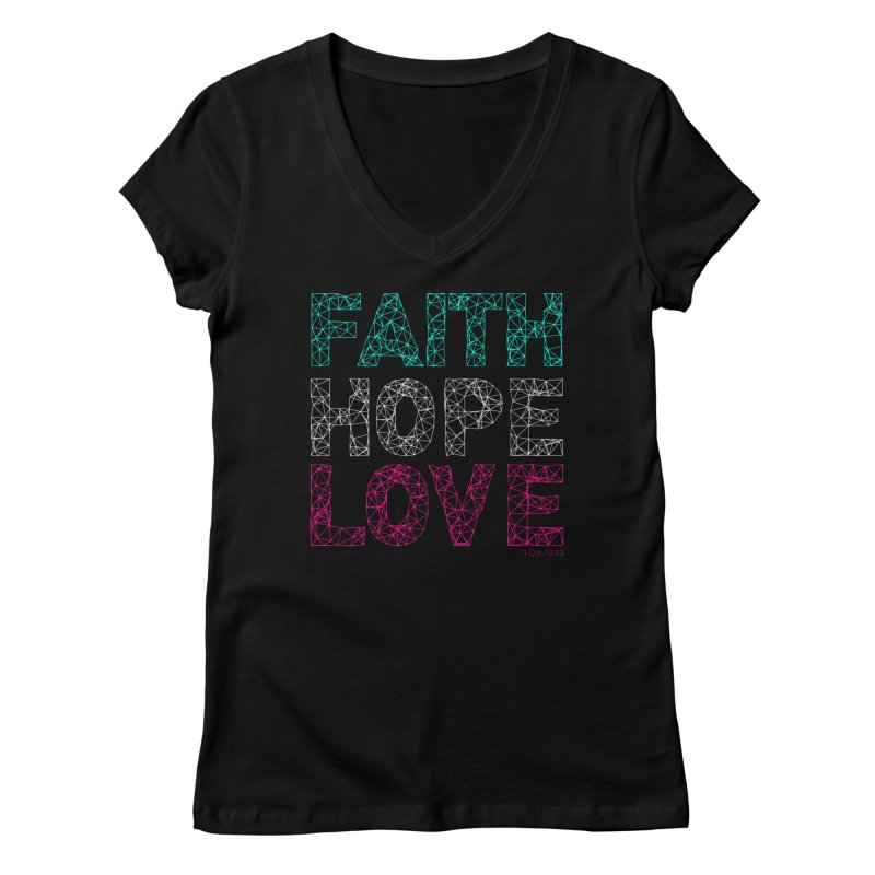 Faith Hope Love Women's V-Neck by Stand Forgiven ✝ Bible-inspired designer brand