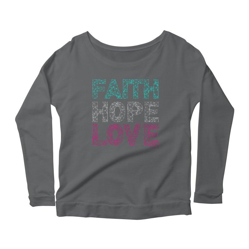 Faith Hope Love Women's Scoop Neck Longsleeve T-Shirt by Stand Forgiven ✝ Bible-inspired designer brand