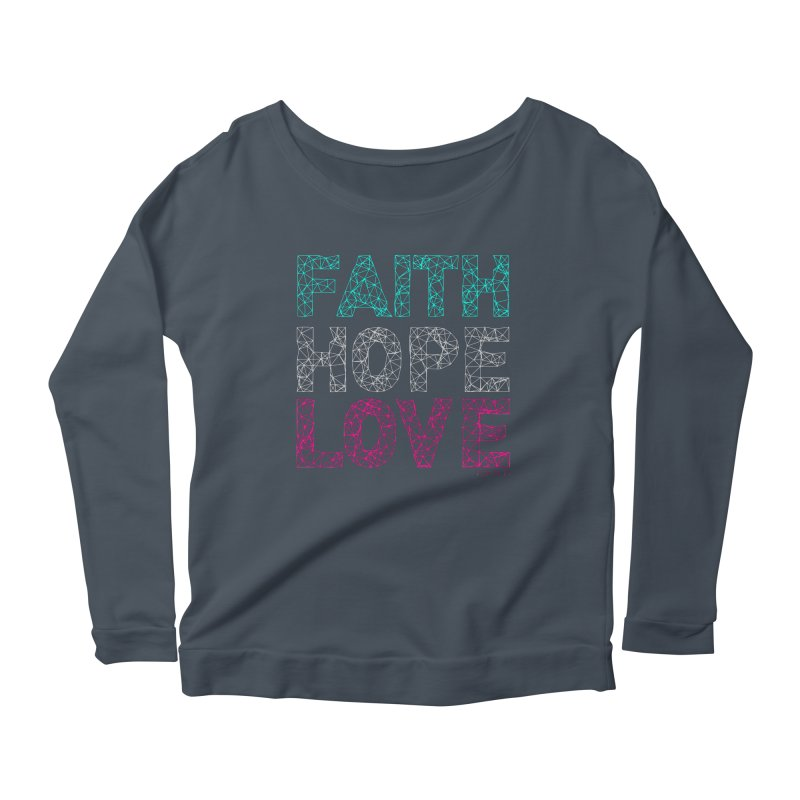 Faith Hope Love Women's Scoop Neck Longsleeve T-Shirt by Stand Forgiven ✝ Bible-inspired designer brand