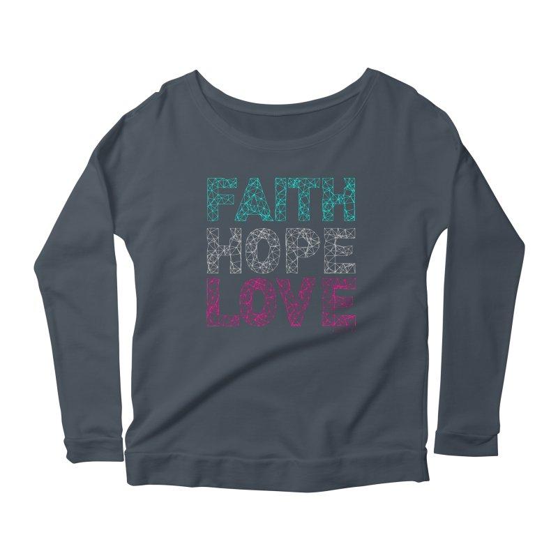 Faith Hope Love Women's Longsleeve Scoopneck  by Stand Forgiven ✝ Bible-inspired designer brand