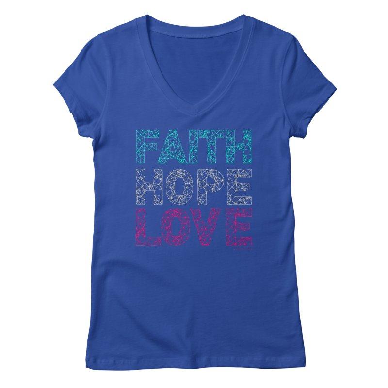Faith Hope Love Women's V-Neck by Stand Forgiven ✝ Bible-inspired designer brand