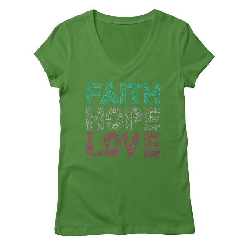 Faith Hope Love Women's Regular V-Neck by Stand Forgiven ✝ Bible-inspired designer brand