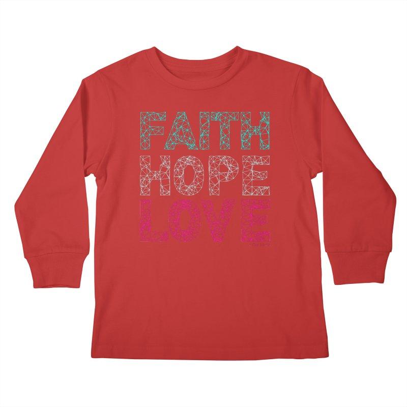 Faith Hope Love Kids Longsleeve T-Shirt by Stand Forgiven ✝ Bible-inspired designer brand
