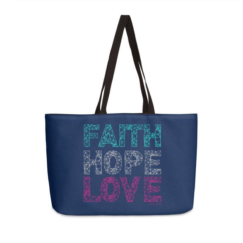 Faith Hope Love Accessories Weekender Bag Bag by Stand Forgiven ✝ Bible-inspired designer brand