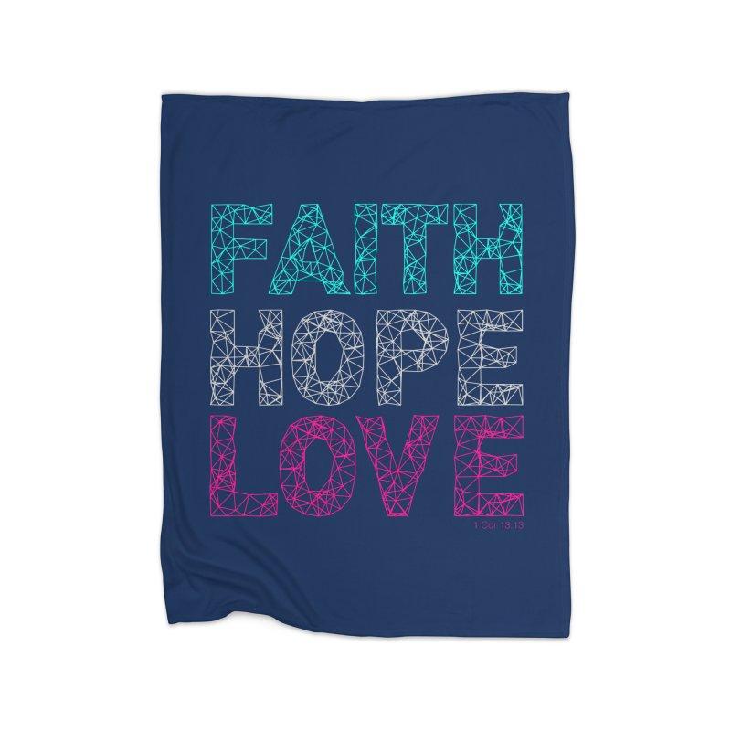 Faith Hope Love Home Fleece Blanket Blanket by Stand Forgiven ✝ Bible-inspired designer brand