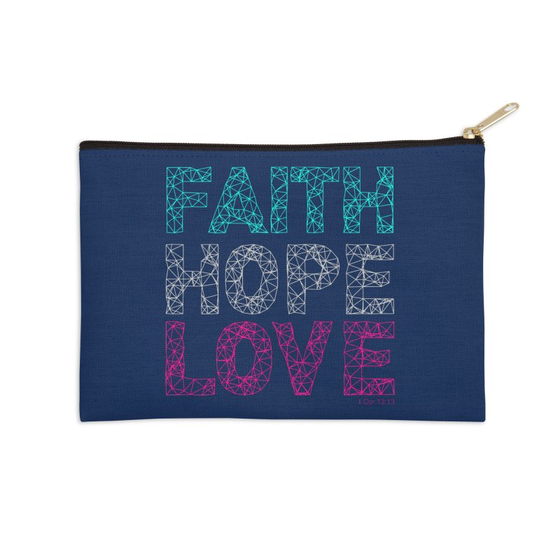 Faith Hope Love Accessories Zip Pouch by Stand Forgiven ✝ Bible-inspired designer brand