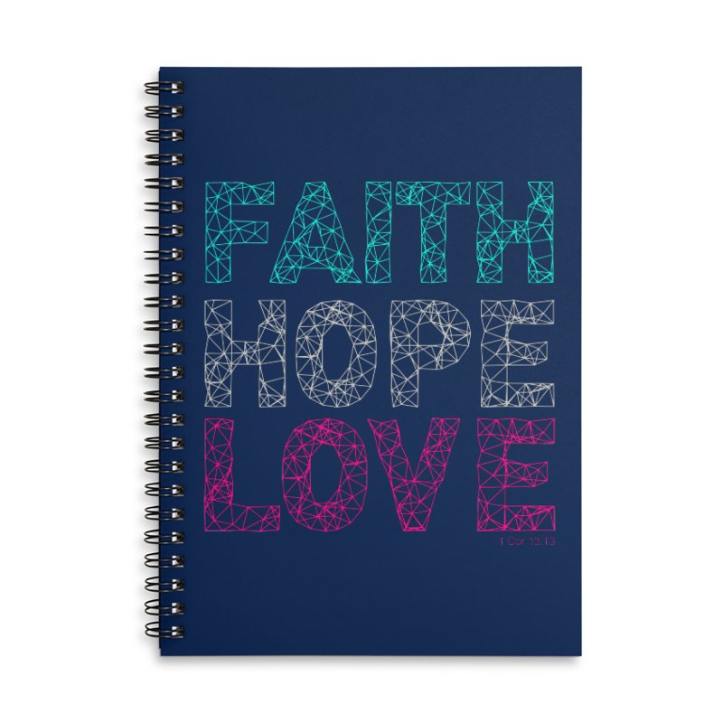 Faith Hope Love Accessories Lined Spiral Notebook by Stand Forgiven ✝ Bible-inspired designer brand