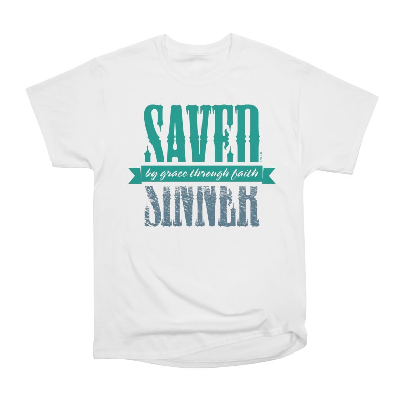 Sinner Saved Women's Heavyweight Unisex T-Shirt by Stand Forgiven ✝ Bible-inspired designer brand