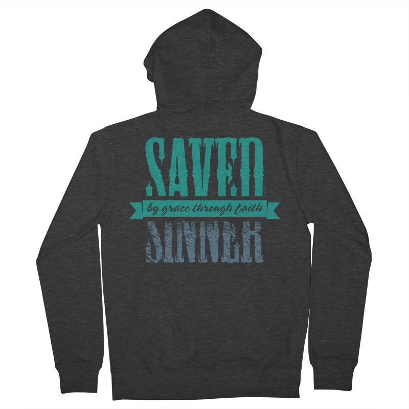 Sinner Saved Men's French Terry Zip-Up Hoody by Stand Forgiven ✝ Bible-inspired designer brand