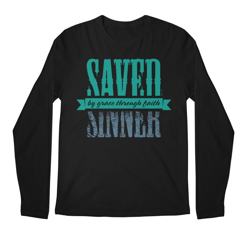 Sinner Saved Men's Regular Longsleeve T-Shirt by Stand Forgiven ✝ Bible-inspired designer brand