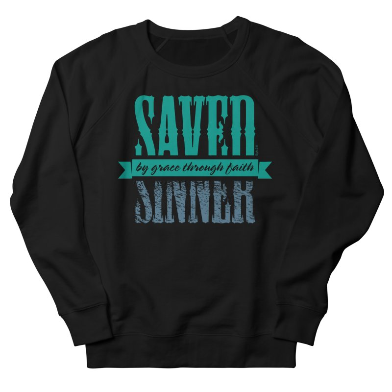 Sinner Saved Men's French Terry Sweatshirt by Stand Forgiven ✝ Bible-inspired designer brand