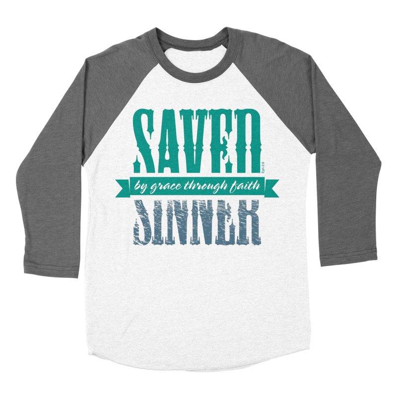Sinner Saved Women's Baseball Triblend Longsleeve T-Shirt by Stand Forgiven ✝ Bible-inspired designer brand
