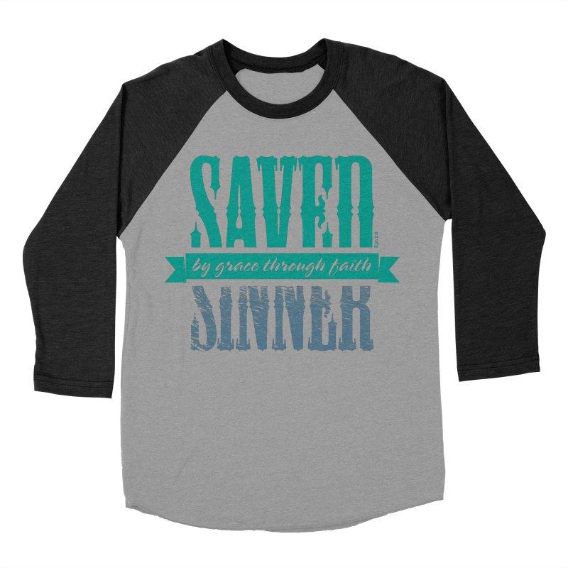 Sinner Saved Men's Baseball Triblend Longsleeve T-Shirt by Stand Forgiven ✝ Bible-inspired designer brand