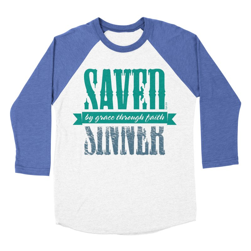 Sinner Saved Men's Baseball Triblend T-Shirt by Stand Forgiven ✝ Bible-inspired designer brand