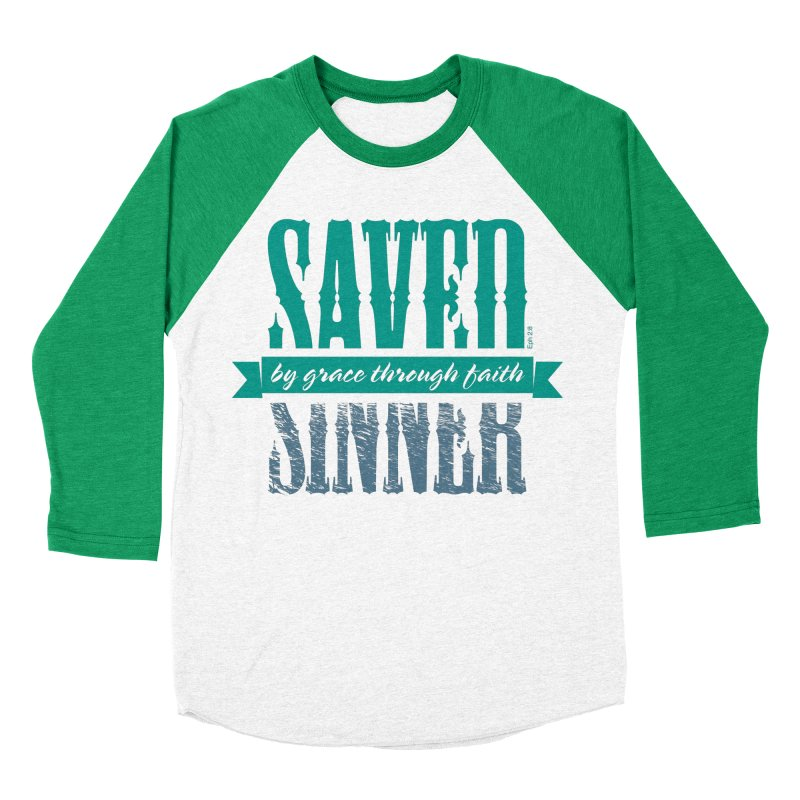 Sinner Saved Men's Baseball Triblend Longsleeve T-Shirt by Stand Forgiven ✝ Bible-inspired designer brand