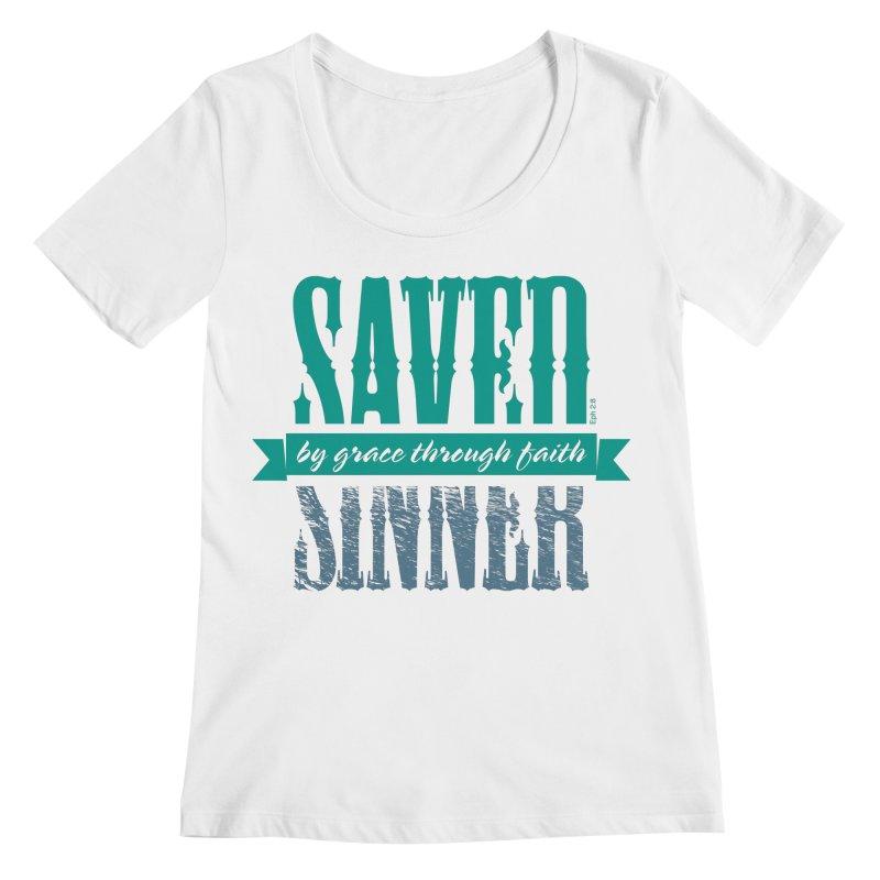 Sinner Saved Women's Regular Scoop Neck by Stand Forgiven ✝ Bible-inspired designer brand