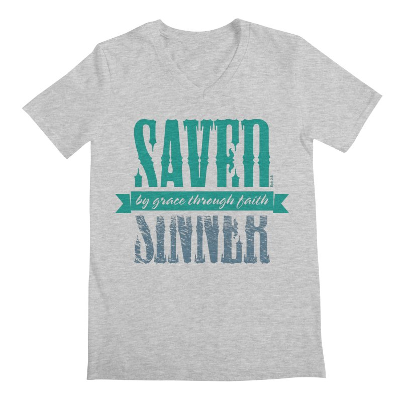 Sinner Saved Men's Regular V-Neck by Stand Forgiven ✝ Bible-inspired designer brand
