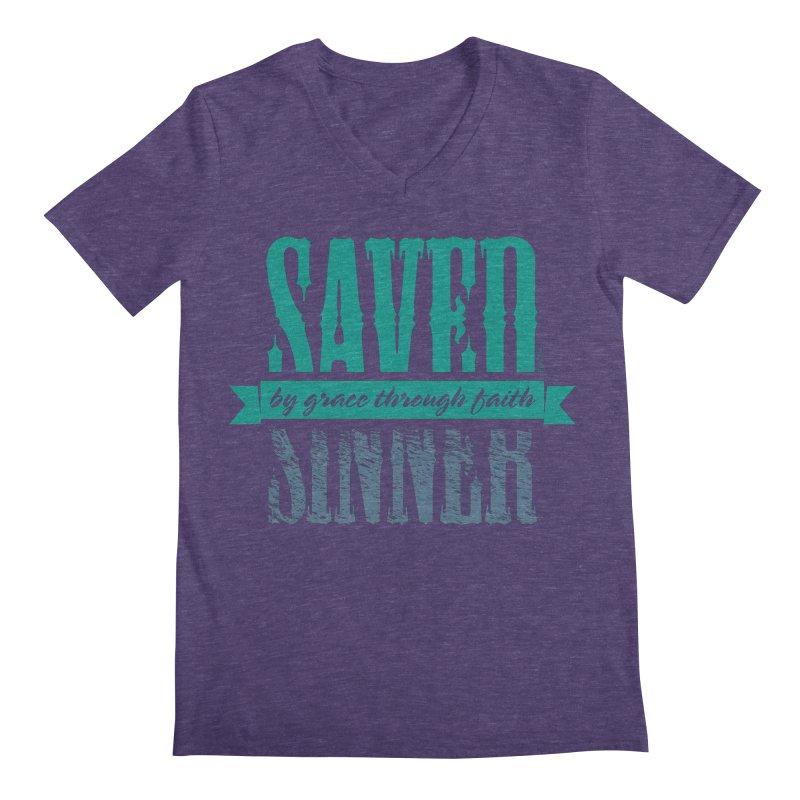 Sinner Saved Men's Regular V-Neck by Stand Forgiven ✝ Bible-inspired designer brand
