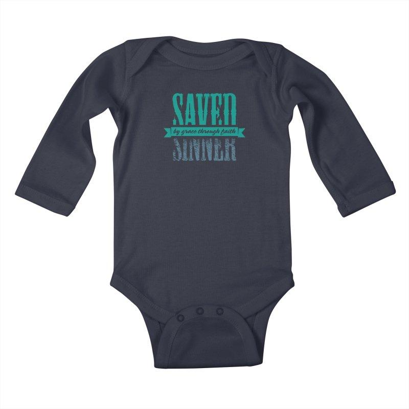 Sinner Saved Kids Baby Longsleeve Bodysuit by Stand Forgiven ✝ Bible-inspired designer brand