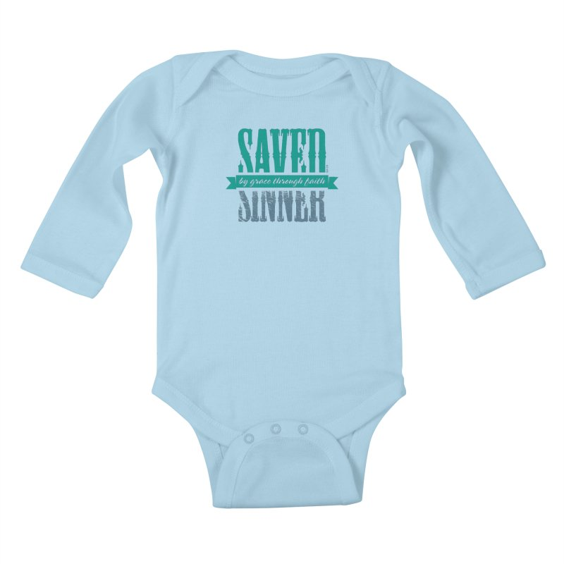 Sinner Saved Kids Baby Longsleeve Bodysuit by Stand Forgiven ✝ Bible-inspired designer brand