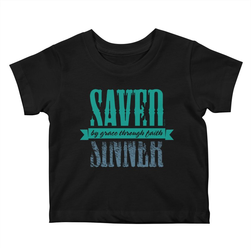 Sinner Saved Kids Baby T-Shirt by Stand Forgiven ✝ Bible-inspired designer brand