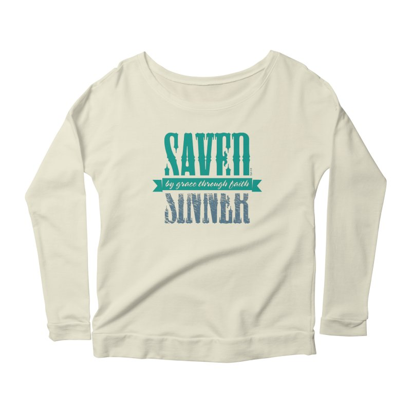 Sinner Saved Women's Longsleeve Scoopneck  by Stand Forgiven ✝ Bible-inspired designer brand