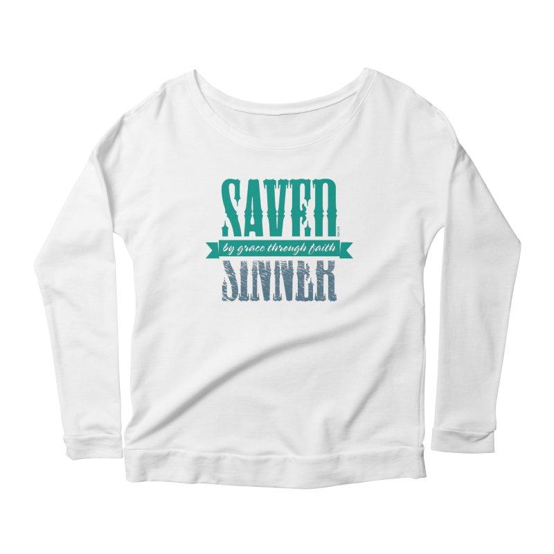 Sinner Saved Women's Scoop Neck Longsleeve T-Shirt by Stand Forgiven ✝ Bible-inspired designer brand