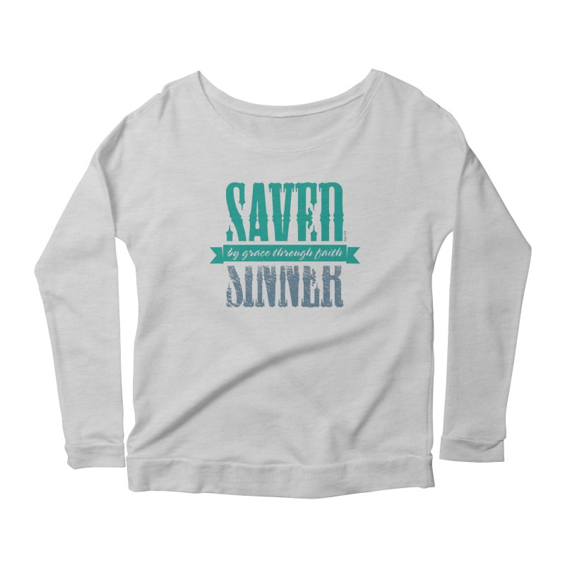 Sinner Saved Women's Scoop Neck Longsleeve T-Shirt by Stand Forgiven ✝ Bible-inspired designer brand