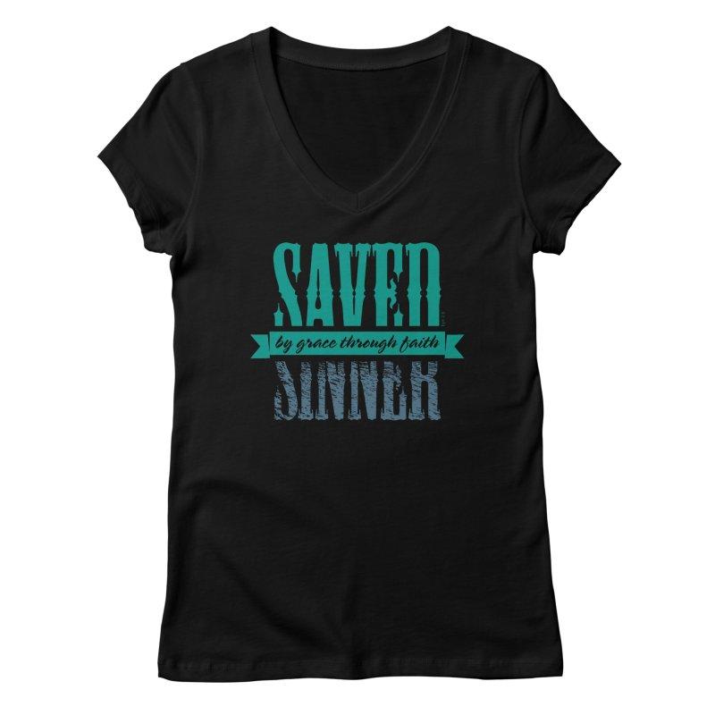 Sinner Saved Women's Regular V-Neck by Stand Forgiven ✝ Bible-inspired designer brand