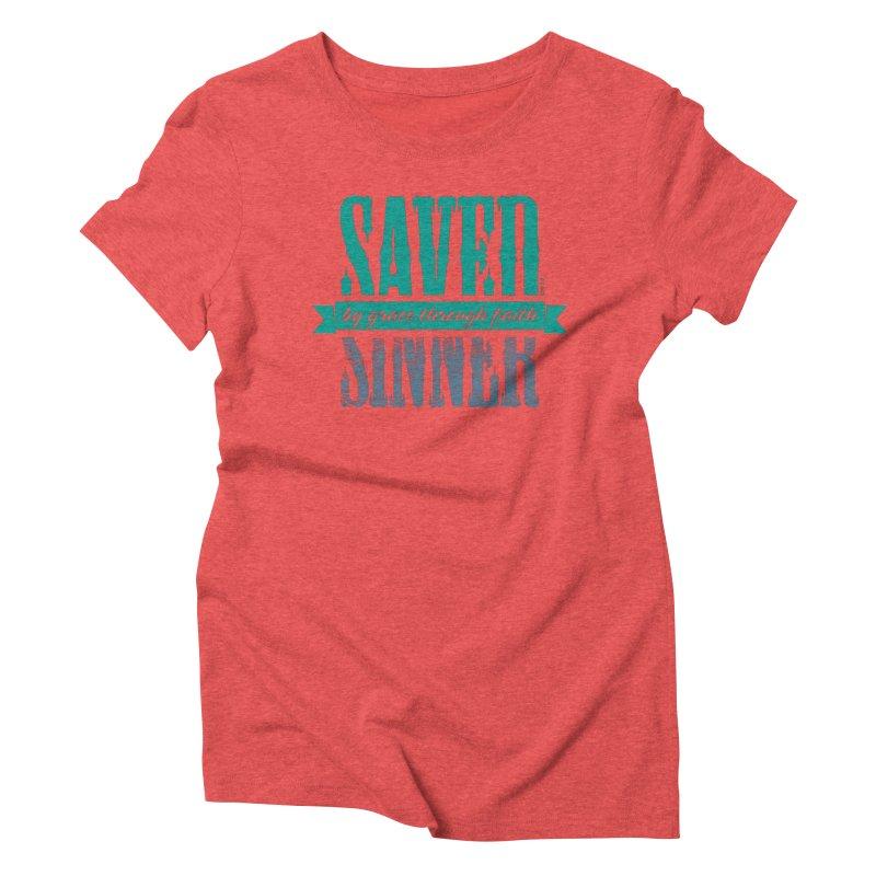 Sinner Saved Women's Triblend T-Shirt by Stand Forgiven ✝ Bible-inspired designer brand