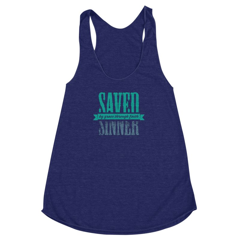 Sinner Saved Women's Racerback Triblend Tank by Stand Forgiven ✝ Bible-inspired designer brand