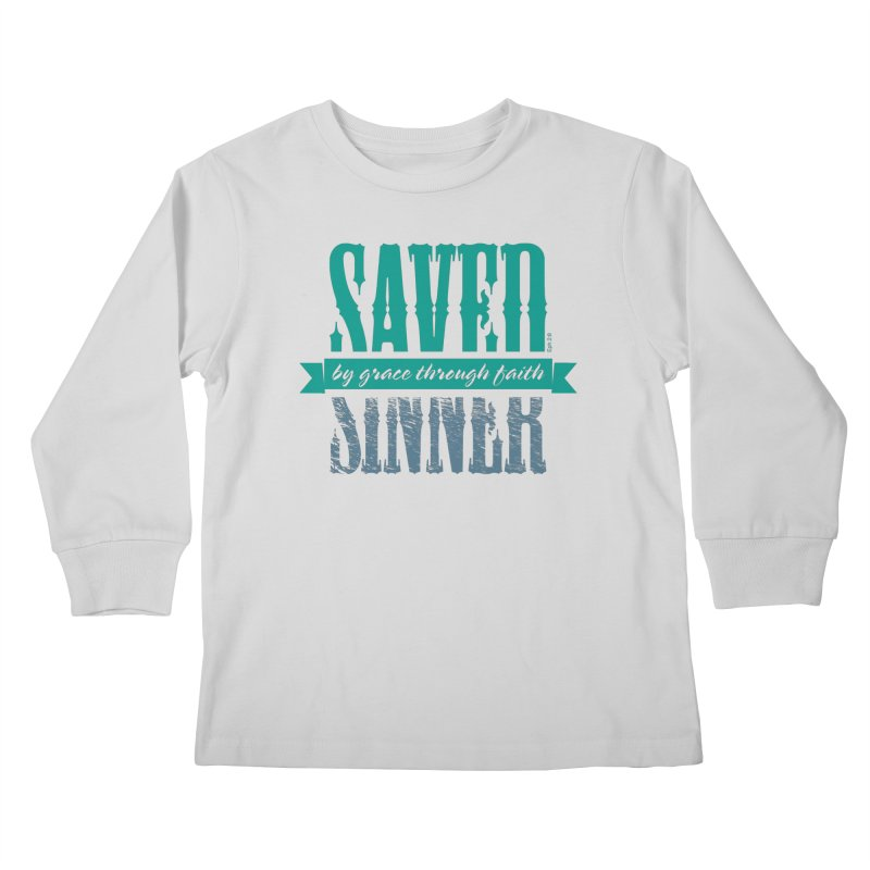 Sinner Saved Kids Longsleeve T-Shirt by Stand Forgiven ✝ Bible-inspired designer brand