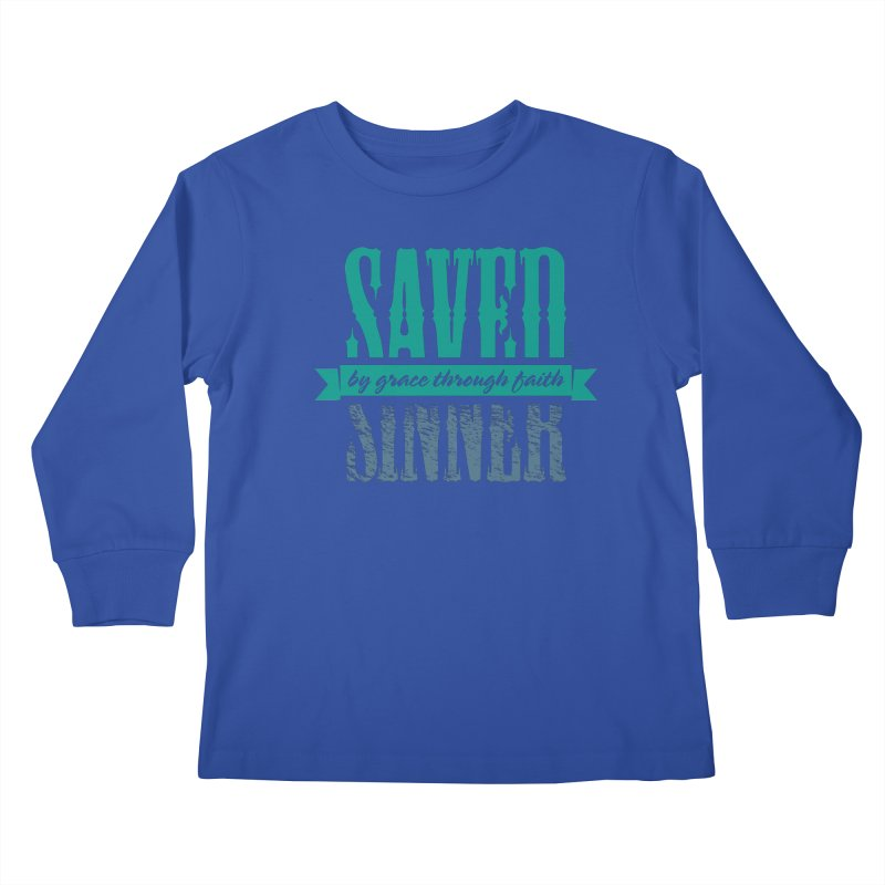 Sinner Saved Kids Longsleeve T-Shirt by Stand Forgiven ✝ Bible-inspired designer brand