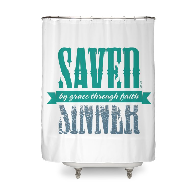 Sinner Saved Home Shower Curtain by Stand Forgiven ✝ Bible-inspired designer brand