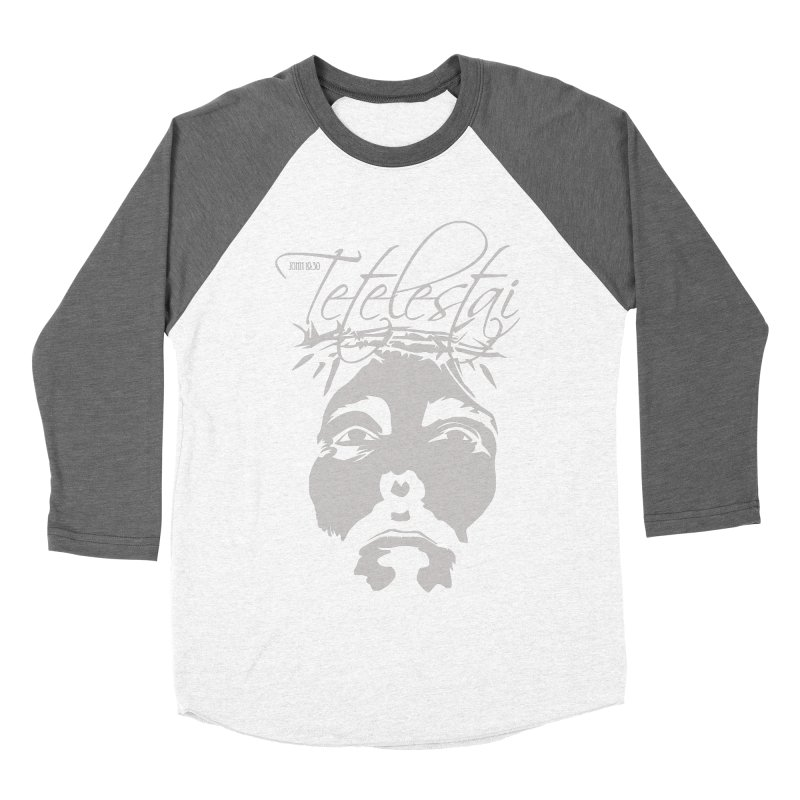 Tetelestai Men's Baseball Triblend Longsleeve T-Shirt by Stand Forgiven ✝ Bible-inspired designer brand
