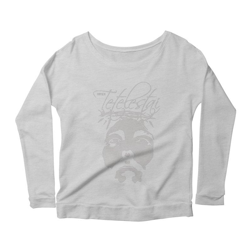 Tetelestai Women's Scoop Neck Longsleeve T-Shirt by Stand Forgiven ✝ Bible-inspired designer brand