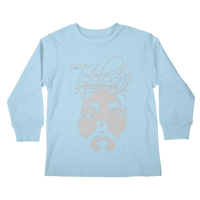 Tetelestai Kids Longsleeve T-Shirt by Stand Forgiven ✝ Bible-inspired designer brand