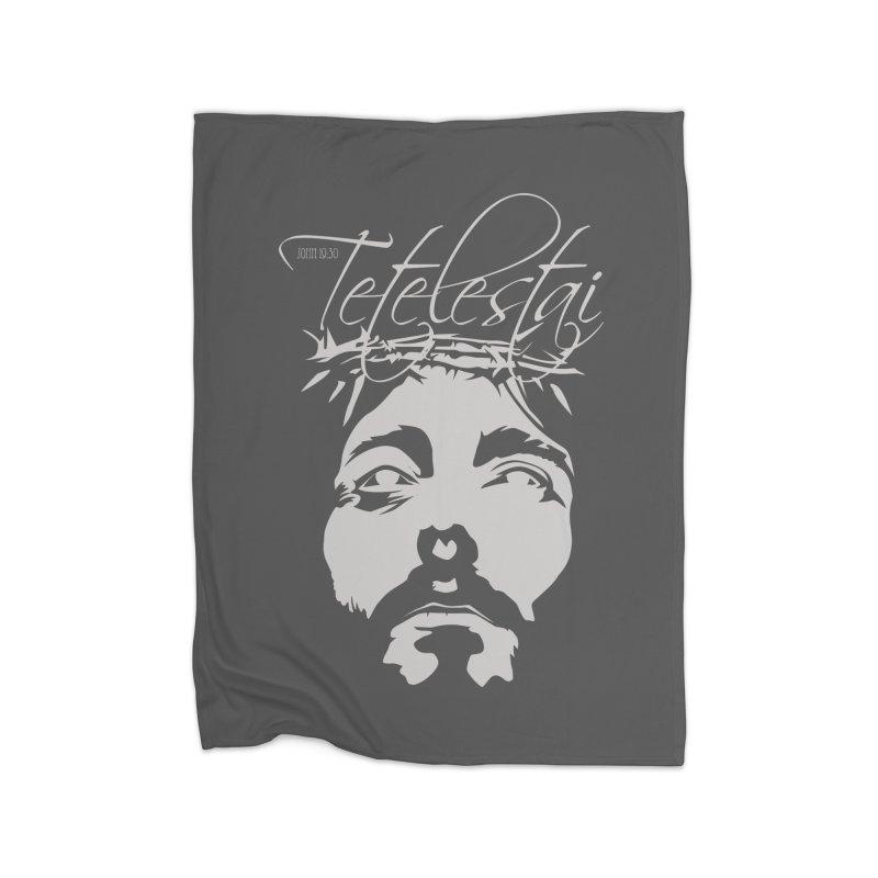 Tetelestai Home Fleece Blanket Blanket by Stand Forgiven ✝ Bible-inspired designer brand