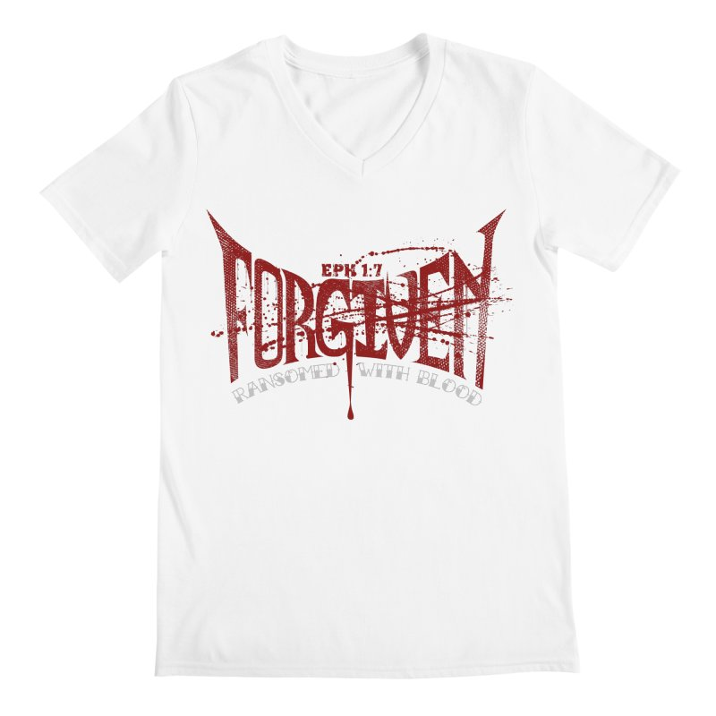 Forgiven: Ransomed with Blood Men's Regular V-Neck by Stand Forgiven ✝ Bible-inspired designer brand