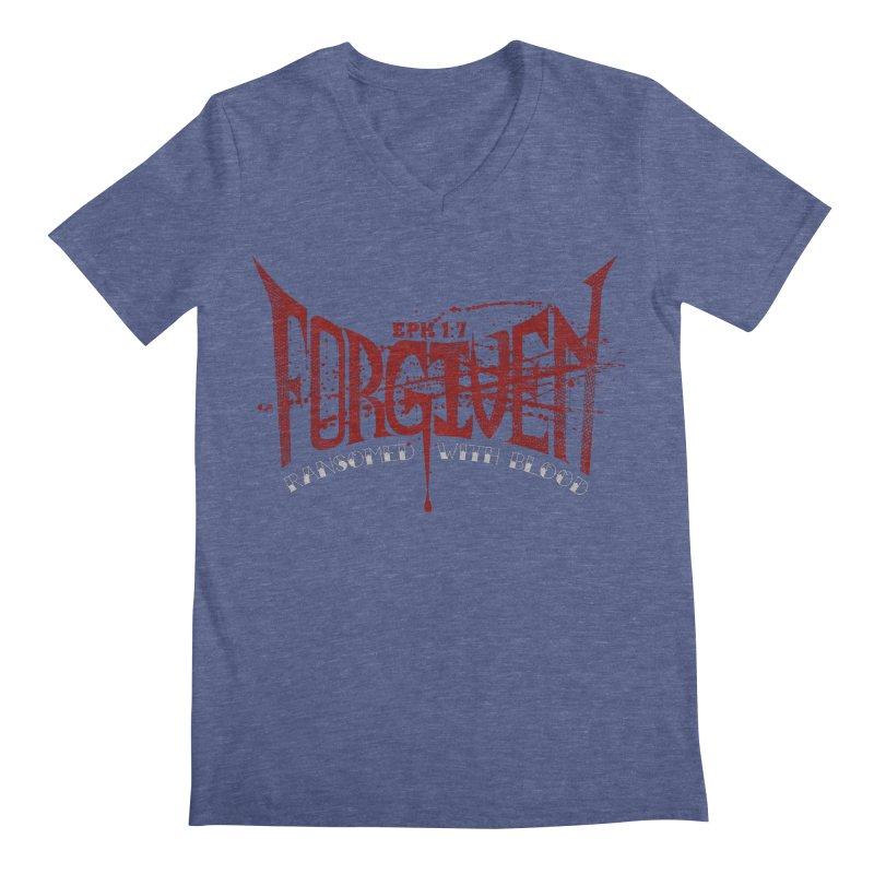 Forgiven: Ransomed with Blood Men's Regular V-Neck by Stand Forgiven ✝ Bible-inspired designer brand