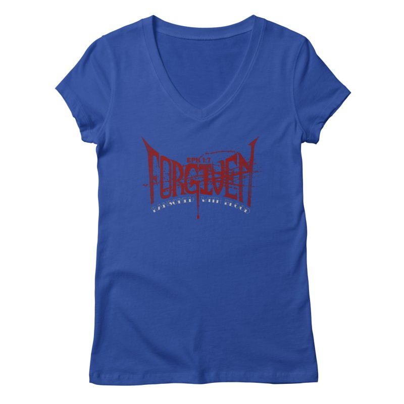 Forgiven: Ransomed with Blood Women's V-Neck by Stand Forgiven ✝ Bible-inspired designer brand