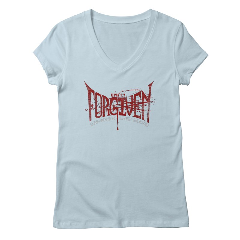 Forgiven: Ransomed with Blood Women's Regular V-Neck by Stand Forgiven ✝ Bible-inspired designer brand